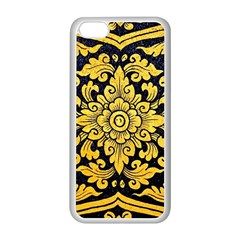 Flower Pattern In Traditional Thai Style Art Painting On Window Of The Temple Apple Iphone 5c Seamless Case (white)