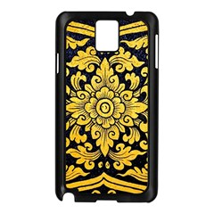 Flower Pattern In Traditional Thai Style Art Painting On Window Of The Temple Samsung Galaxy Note 3 N9005 Case (Black)
