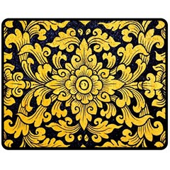 Flower Pattern In Traditional Thai Style Art Painting On Window Of The Temple Double Sided Fleece Blanket (medium)