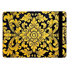Flower Pattern In Traditional Thai Style Art Painting On Window Of The Temple Samsung Galaxy Tab Pro 12 2  Flip Case