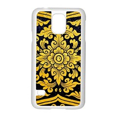 Flower Pattern In Traditional Thai Style Art Painting On Window Of The Temple Samsung Galaxy S5 Case (white)