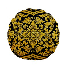 Flower Pattern In Traditional Thai Style Art Painting On Window Of The Temple Standard 15  Premium Flano Round Cushions