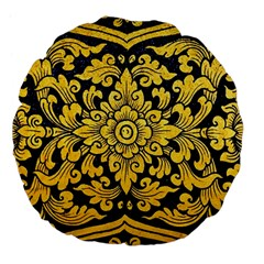 Flower Pattern In Traditional Thai Style Art Painting On Window Of The Temple Large 18  Premium Flano Round Cushions