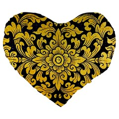 Flower Pattern In Traditional Thai Style Art Painting On Window Of The Temple Large 19  Premium Flano Heart Shape Cushions