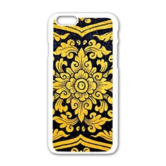 Flower Pattern In Traditional Thai Style Art Painting On Window Of The Temple Apple Iphone 6/6s White Enamel Case