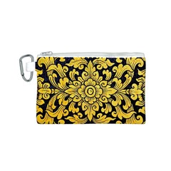 Flower Pattern In Traditional Thai Style Art Painting On Window Of The Temple Canvas Cosmetic Bag (S)