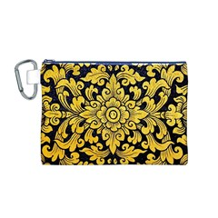 Flower Pattern In Traditional Thai Style Art Painting On Window Of The Temple Canvas Cosmetic Bag (m)