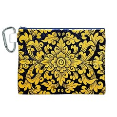Flower Pattern In Traditional Thai Style Art Painting On Window Of The Temple Canvas Cosmetic Bag (xl)