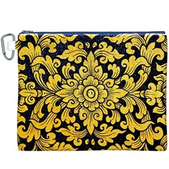 Flower Pattern In Traditional Thai Style Art Painting On Window Of The Temple Canvas Cosmetic Bag (xxxl)