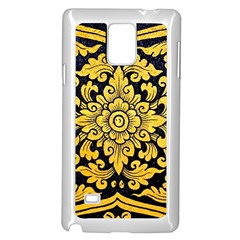 Flower Pattern In Traditional Thai Style Art Painting On Window Of The Temple Samsung Galaxy Note 4 Case (White)