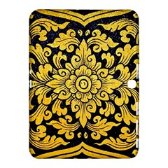 Flower Pattern In Traditional Thai Style Art Painting On Window Of The Temple Samsung Galaxy Tab 4 (10 1 ) Hardshell Case