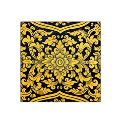 Flower Pattern In Traditional Thai Style Art Painting On Window Of The Temple Satin Bandana Scarf