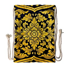 Flower Pattern In Traditional Thai Style Art Painting On Window Of The Temple Drawstring Bag (large)