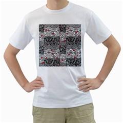Sribble Plaid Men s T Shirt (white) (two Sided)