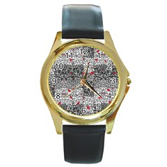 Sribble Plaid Round Gold Metal Watch