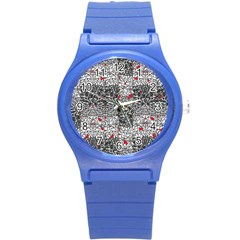 Sribble Plaid Round Plastic Sport Watch (s)