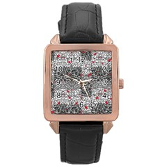 Sribble Plaid Rose Gold Leather Watch