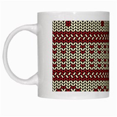 Stitched Seamless Pattern With Silhouette Of Heart White Mugs