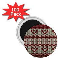 Stitched Seamless Pattern With Silhouette Of Heart 1.75  Magnets (100 pack)