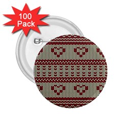 Stitched Seamless Pattern With Silhouette Of Heart 2 25  Buttons (100 Pack)