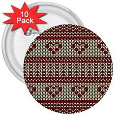 Stitched Seamless Pattern With Silhouette Of Heart 3  Buttons (10 pack)