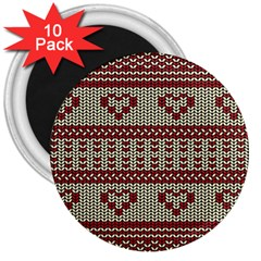 Stitched Seamless Pattern With Silhouette Of Heart 3  Magnets (10 Pack)