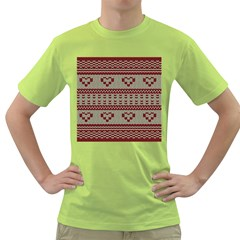 Stitched Seamless Pattern With Silhouette Of Heart Green T Shirt
