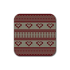 Stitched Seamless Pattern With Silhouette Of Heart Rubber Coaster (square)