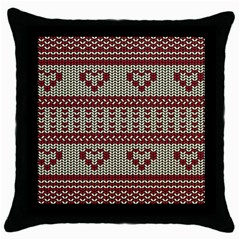 Stitched Seamless Pattern With Silhouette Of Heart Throw Pillow Case (Black)