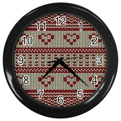 Stitched Seamless Pattern With Silhouette Of Heart Wall Clocks (black)