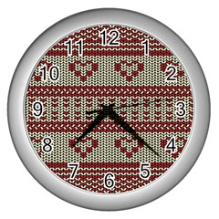 Stitched Seamless Pattern With Silhouette Of Heart Wall Clocks (silver)
