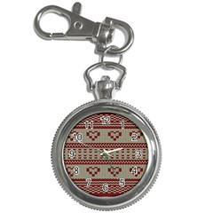 Stitched Seamless Pattern With Silhouette Of Heart Key Chain Watches