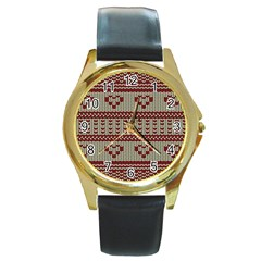 Stitched Seamless Pattern With Silhouette Of Heart Round Gold Metal Watch