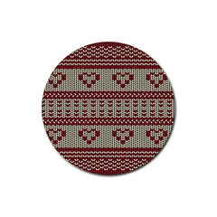 Stitched Seamless Pattern With Silhouette Of Heart Rubber Coaster (round)
