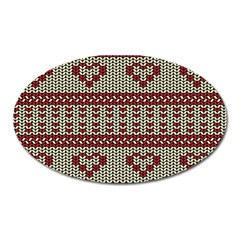 Stitched Seamless Pattern With Silhouette Of Heart Oval Magnet