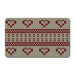 Stitched Seamless Pattern With Silhouette Of Heart Magnet (Rectangular)