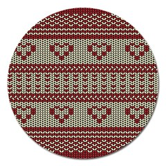Stitched Seamless Pattern With Silhouette Of Heart Magnet 5  (Round)