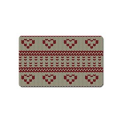 Stitched Seamless Pattern With Silhouette Of Heart Magnet (name Card)