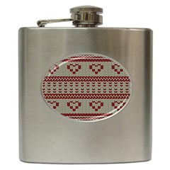 Stitched Seamless Pattern With Silhouette Of Heart Hip Flask (6 oz)
