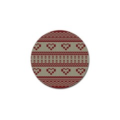 Stitched Seamless Pattern With Silhouette Of Heart Golf Ball Marker (4 Pack)