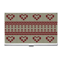 Stitched Seamless Pattern With Silhouette Of Heart Business Card Holders