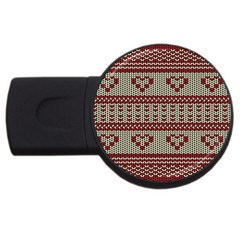 Stitched Seamless Pattern With Silhouette Of Heart Usb Flash Drive Round (2 Gb)