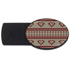 Stitched Seamless Pattern With Silhouette Of Heart Usb Flash Drive Oval (2 Gb)