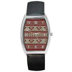 Stitched Seamless Pattern With Silhouette Of Heart Barrel Style Metal Watch