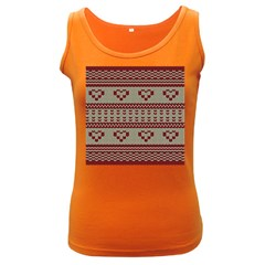 Stitched Seamless Pattern With Silhouette Of Heart Women s Dark Tank Top