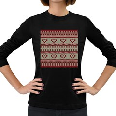 Stitched Seamless Pattern With Silhouette Of Heart Women s Long Sleeve Dark T Shirts