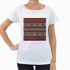 Stitched Seamless Pattern With Silhouette Of Heart Women s Loose Fit T Shirt (white)