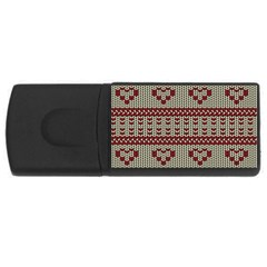 Stitched Seamless Pattern With Silhouette Of Heart Usb Flash Drive Rectangular (4 Gb)