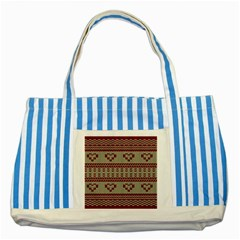 Stitched Seamless Pattern With Silhouette Of Heart Striped Blue Tote Bag