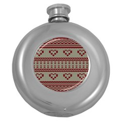 Stitched Seamless Pattern With Silhouette Of Heart Round Hip Flask (5 oz)